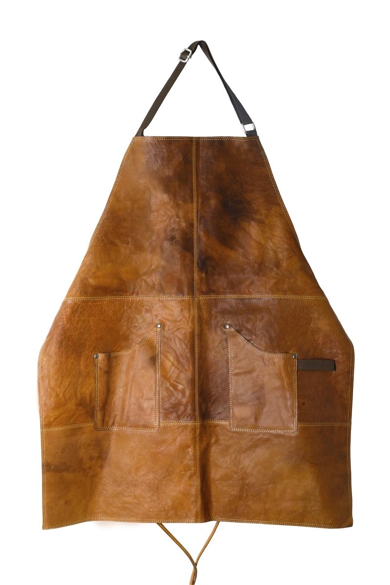 Skinnförkläde brunt vaxat skinn, Scandinavian